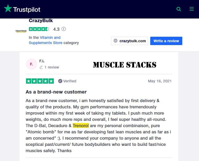 CrazyBulk Trenorol Customer Reviews 2
